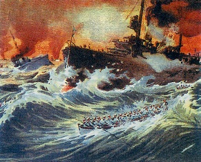 The Sinking of the Battleship Admiral Ushakov. By unknown artist