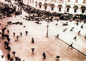 Shots are fired at the crowd of protesters in the streets of Petrograd, 4 July 1917
