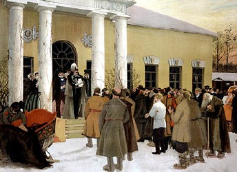 The Reading of the Emancipation Manifesto. By B. Kustodiev