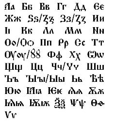 Old Church Slavonic alphabet