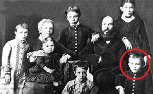 Ulianov's family in 1879. Vladimir is circled in red