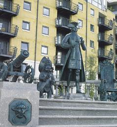 Statue of Peter I in Deptford, England. He visited its dockyard in 1698