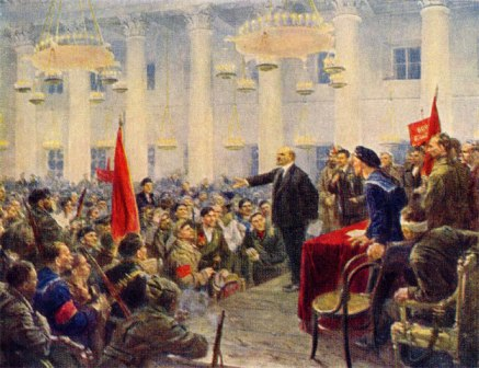 Lenin Speaks at the Second Congress of Soviets. By Vl. Serov