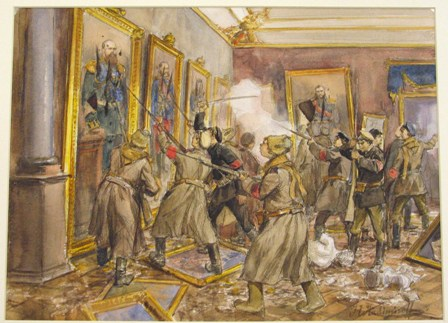 Revolutionary soldiers and sailors storm the Winter Palace. By I. Vladimirov