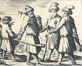 Russian armed peasants from an engraving made in 1719
