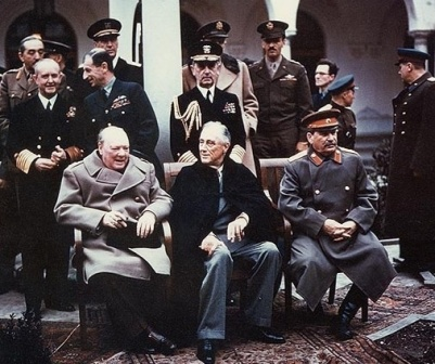 British Prime Minister Winston Churchill,  U.S. President Franklin Roosevelt and Soviet Leader Joseph Stalin at Yalta conference, February 1945