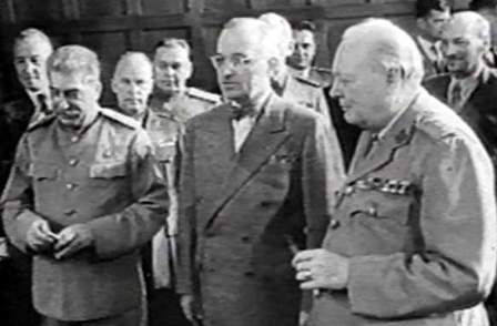 Joseph Stalin. Harry S. Truman and Winston Churchill at Potsdam, Germany for Conference. Photo by Jim Bates