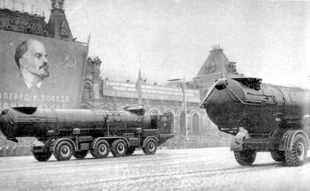 Soviet missiles take part in the Red Square military parade: 1961