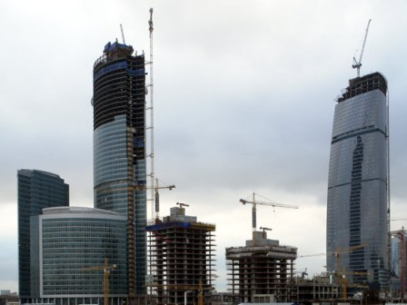 """Moscow-City"" is the new prestige project of post-communist urban architecture with the Federation Tower (to the right), about to become the highest building of Europe"