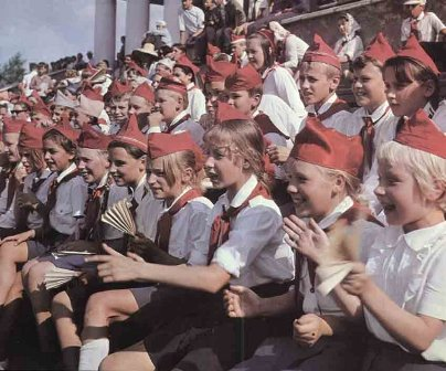 In the former USSR all children of school age had to be members of the All-Union Pioneer Organization (the Soviet equivalent of boy scouts)