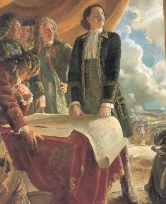 Peter and his generals. Painting by N. Ovechkin