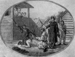 Punishment of the serf in the presence of the landlord. 18th-century engraving